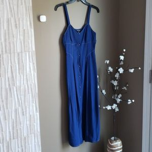 TOPSHOP Navy Button Front Midi Dress Sz 4